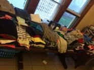 Clothing swap party table
