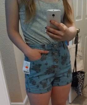 Some high-waisted shorts draw attention to my curvy tummy. Because this style is cut so high it actually slims down my middle.