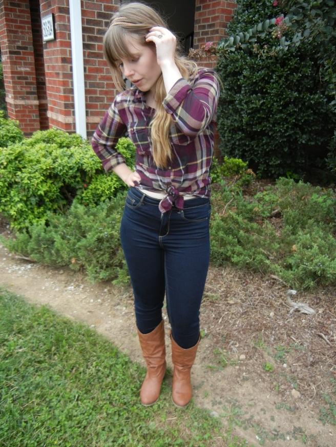 Plaid and high-waist jeans   Christina's Best Life