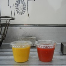 ...and they even have little cups with lids to put the sauce in! Pictured are the herby mustard and the tot sauce.