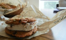 Chocolate chip and pretzel cookie with heath toffee marshmallow center