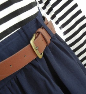 Navy striped dress [belt] | Christina's Best Life